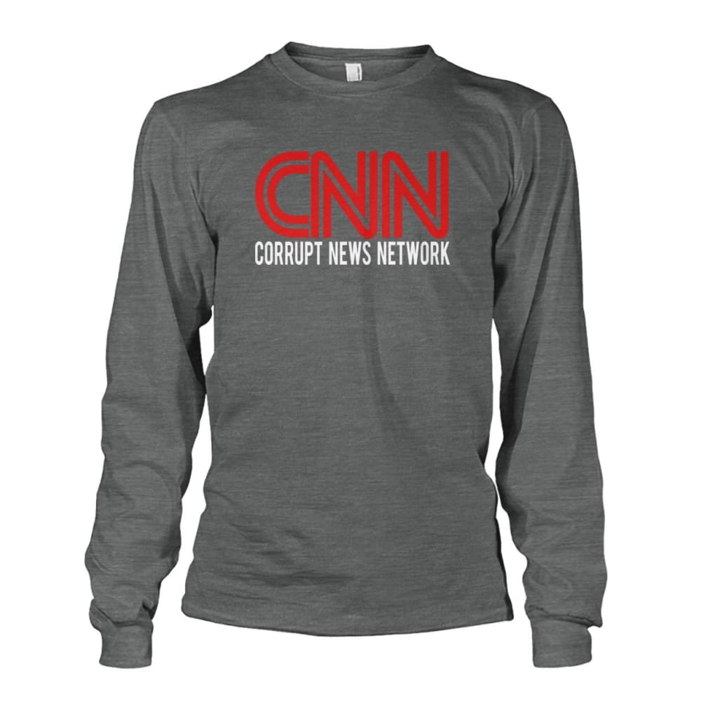 Corrupt News Network Long Sleeve - Dark Heather / S / Unisex Long Sleeve - Long Sleeves