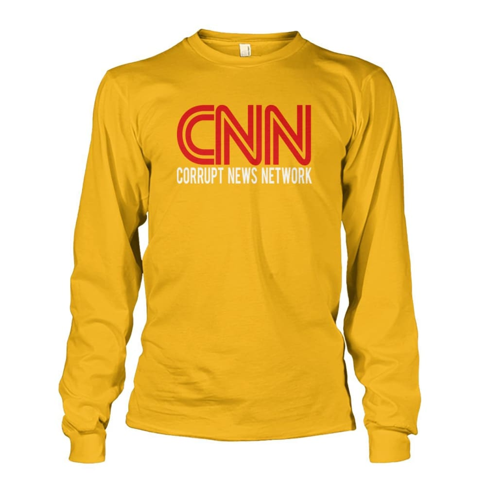 Corrupt News Network Long Sleeve - Gold / S / Unisex Long Sleeve - Long Sleeves