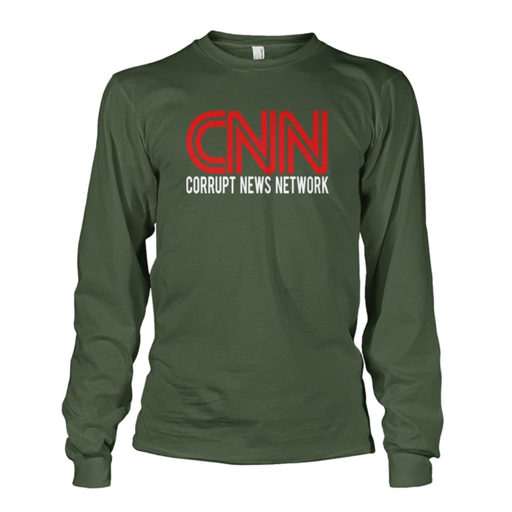 Corrupt News Network Long Sleeve - Military Green / S / Unisex Long Sleeve - Long Sleeves