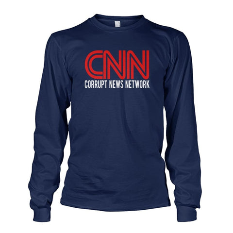 Image of Corrupt News Network Long Sleeve - Navy / S / Unisex Long Sleeve - Long Sleeves