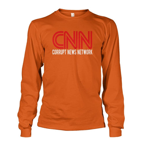 Image of Corrupt News Network Long Sleeve - Texas Orange / S / Unisex Long Sleeve - Long Sleeves