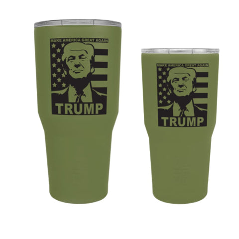 Image of Custom Trump Tumbler - 20 oz. And 30 oz. Options (Flag Design) - 30 oz. / Army Green