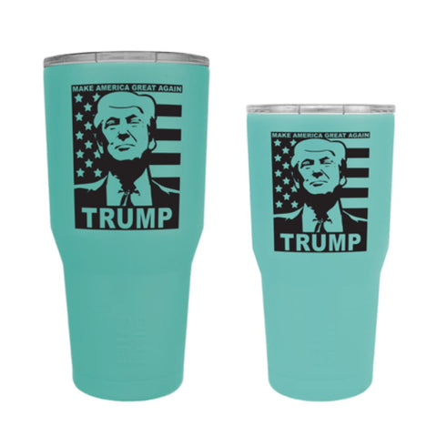 Custom Trump Tumbler - 20 oz. And 30 oz. Options (Flag Design) - 30 oz. / Silver