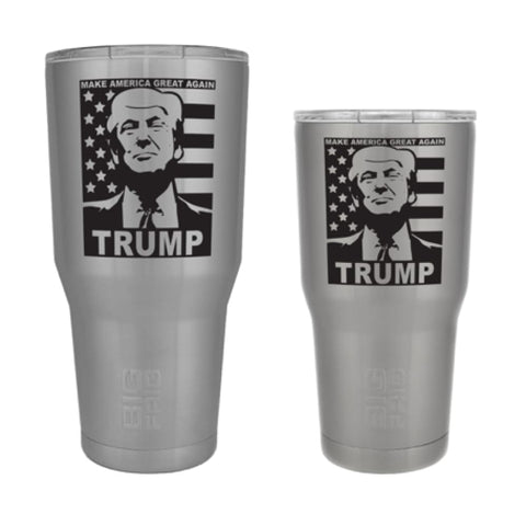 Image of Custom Trump Tumbler - 20 oz. And 30 oz. Options (Flag Design) - 30 oz. / Silver