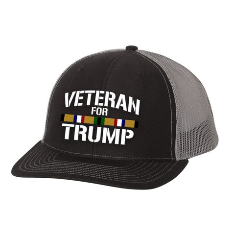 Desert Storm Veteran For Trump Trucker Hat - Charcoal & White - Hats