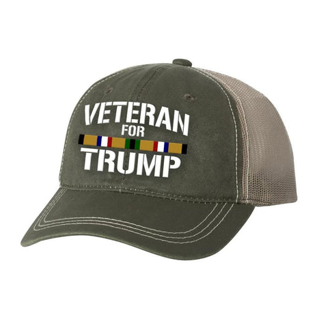 Desert Storm Veteran For Trump Weathered Hat - Olive - Hats