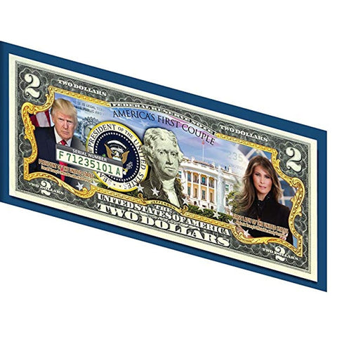 Image of Donald & Melania Trump *Presidential Couple* Genuine LEGAL TENDER US $2 Bill - Bill