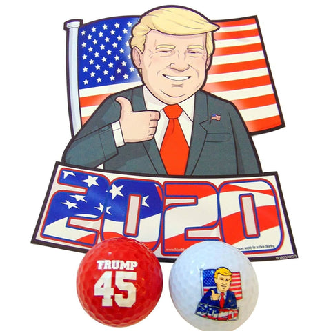 Donald Trump 2020 Car Magnet and Novelty Golf Balls