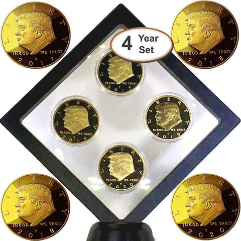 Image of Donald Trump 4 Coin Set (2017 2018 2019 2020) In Floating Diamond Display Case - Coin