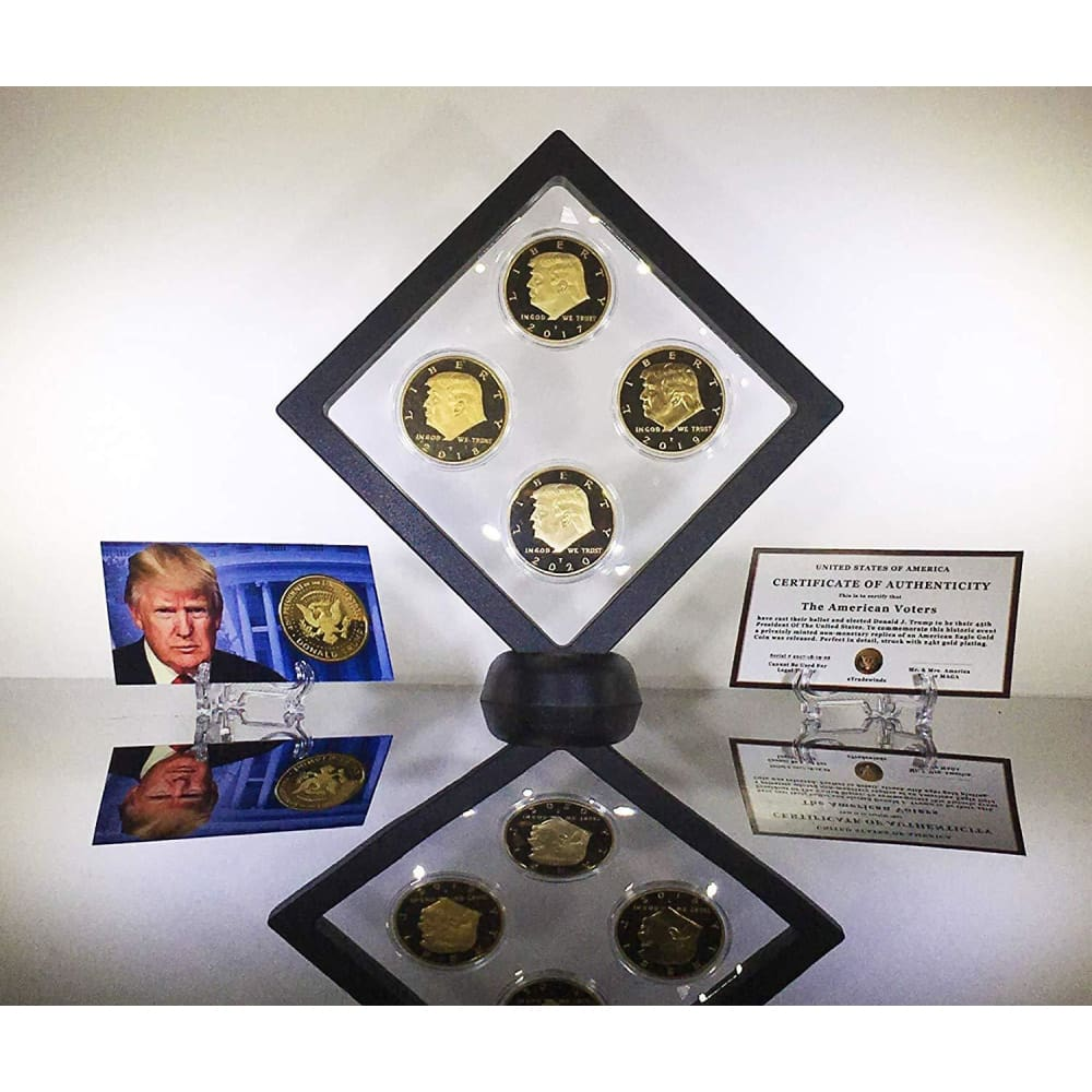 Donald Trump 4 Coin Set (2017 2018 2019 2020) In Floating Diamond Display Case - Coin