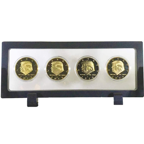 Image of Donald Trump 4 Coin Set (2017 2018 2019 2020) In Floating Rectangle Display Case - Coin