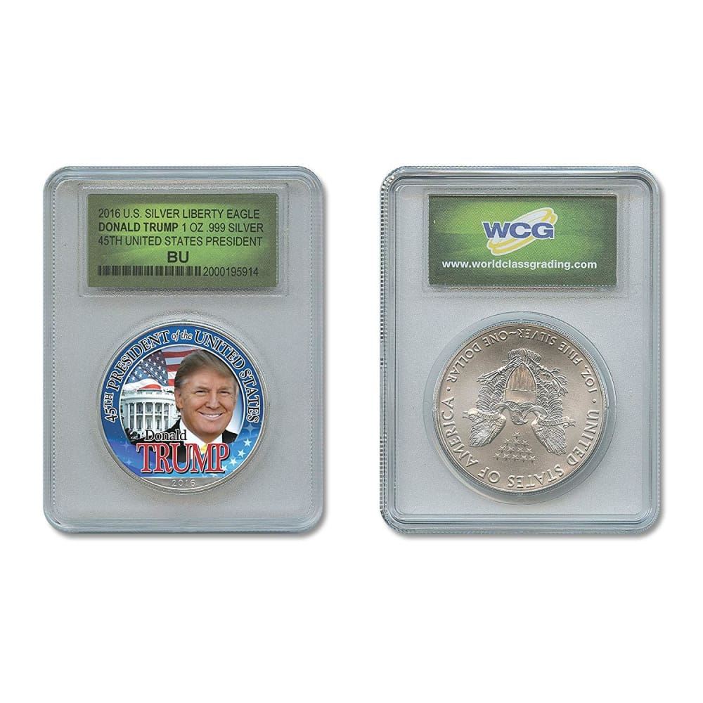 Donald Trump 45th President 1 Oz .999 Pure Silver Eagle In Special Holder
