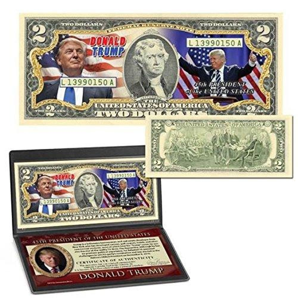 Donald Trump 45th President Colorized $2 Bill - Bill