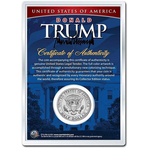 Image of Donald Trump 45th President LEGAL TENDER Half Dollar Coin in Premium Holder with C.O.A.