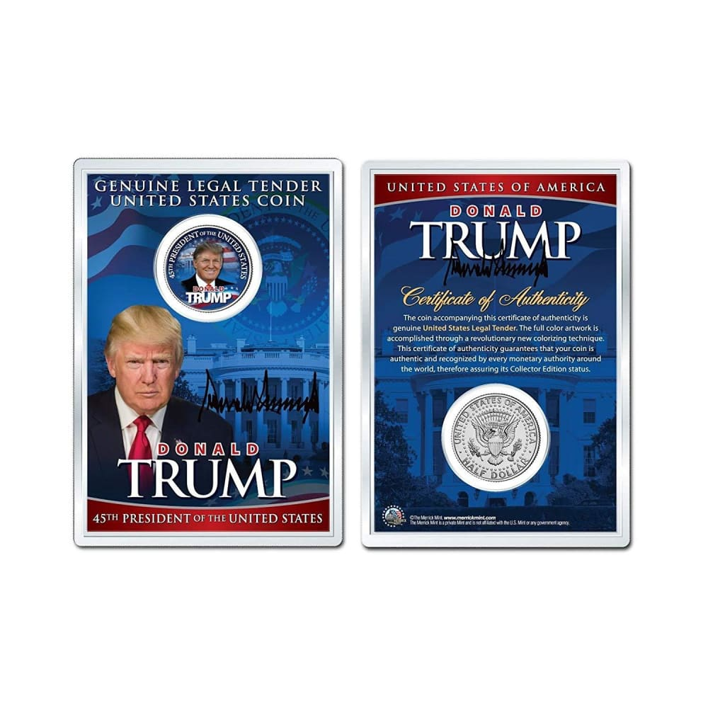 Donald Trump 45th President LEGAL TENDER Half Dollar Coin in Premium Holder with C.O.A.