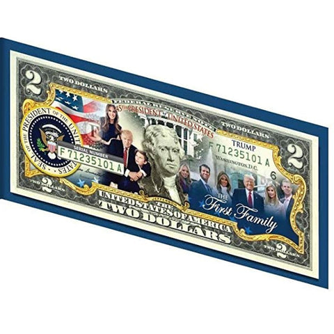 Image of Donald Trump and The FIRST FAMILY Genuine LEGAL TENDER US $2 Bill