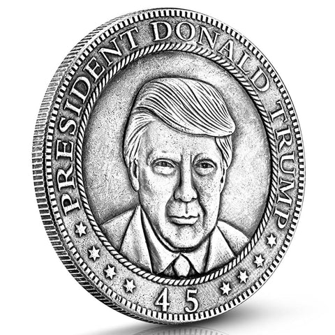Image of Donald Trump Antique Commemorative Coin - Silver Finish - Coin