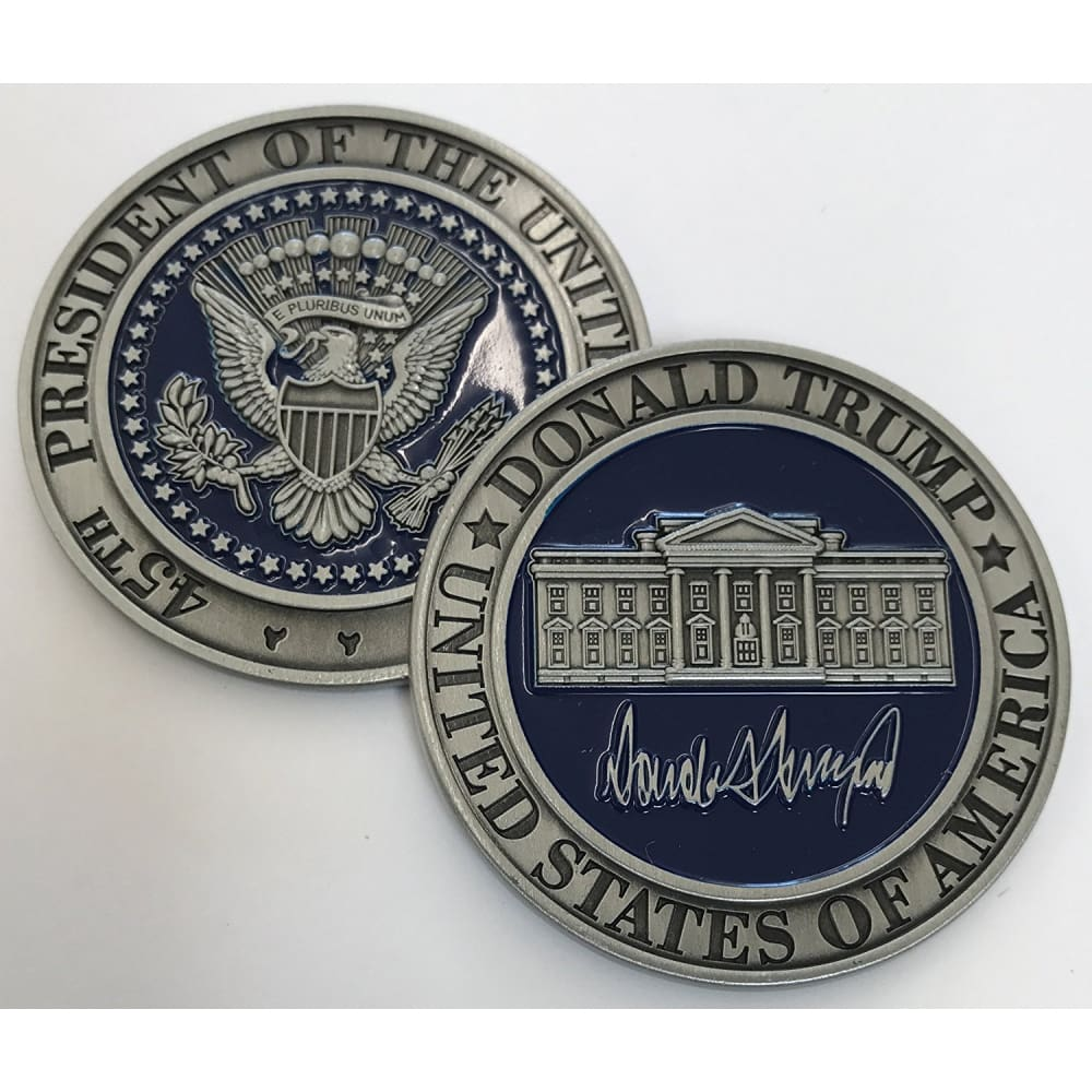 Donald Trump Challenge Coin - Silver & Blue With Plastic Case