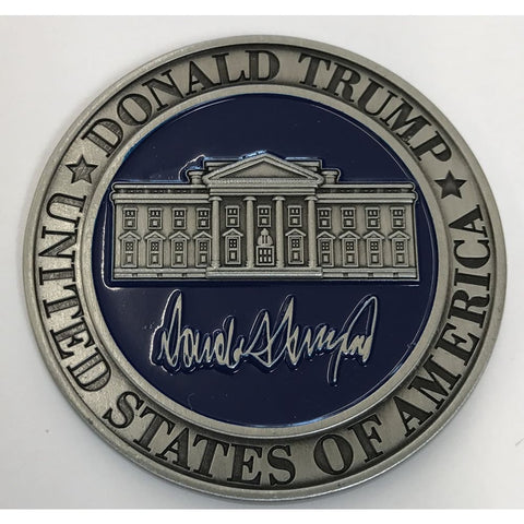 Image of Donald Trump Challenge Coin - Silver & Blue With Plastic Case