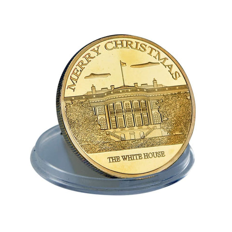 Image of Donald Trump Christmas Coin - 24K Gold Plated - In Collectors Box