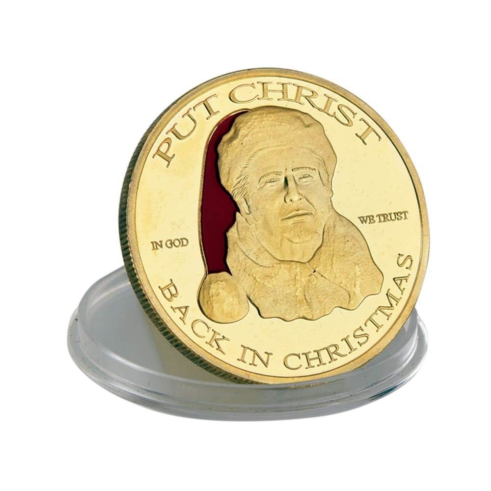 Donald Trump Christmas Coin - 24K Gold Plated - In Collectors Box