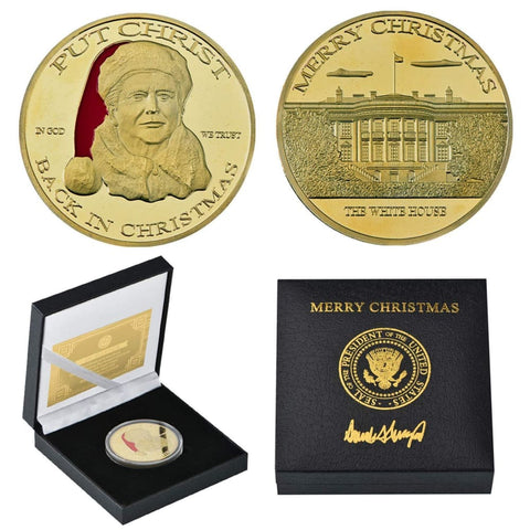 Image of Donald Trump Christmas Coin SET - Gold & Silver Plated - In Collectors Boxes (2 Coins)