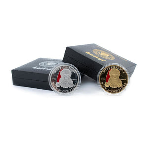 Donald Trump Christmas Coin SET - Gold & Silver Plated - In Collectors Boxes (2 Coins)