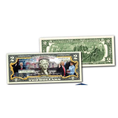 Image of Donald Trump Inauguration Genuine LEGAL TENDER US $2 Bill in 8x10 Collectors Display - Bill