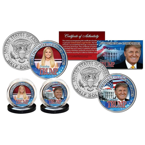 Image of Donald Trump & Ivanka Trump LEGAL TENDER Half Dollar Coins with C.O.A. (2-Piece Set)