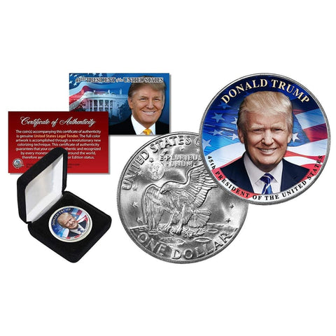 Image of Donald Trump LEGAL TENDER $1 Coin (Eisenhower Style) with Felt Box and C.O.A.