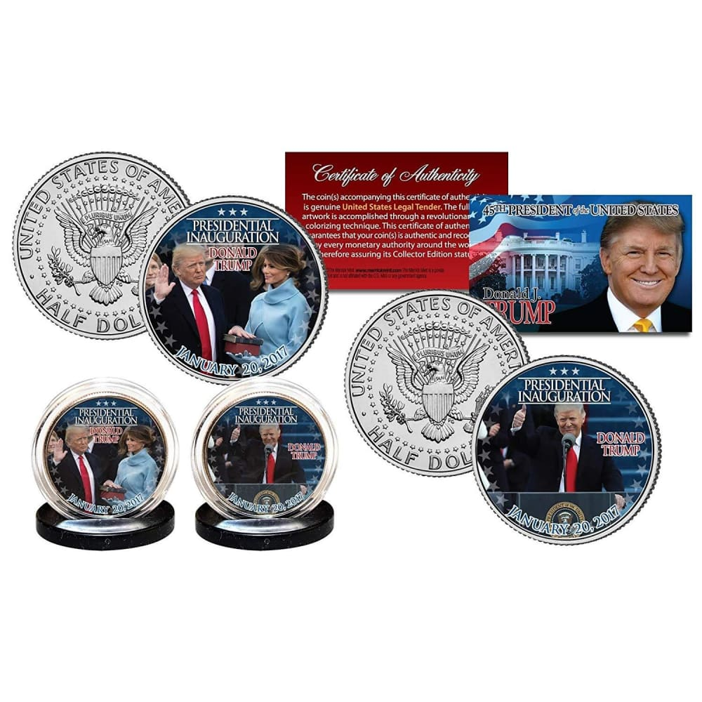 Donald Trump & Melania Trump Inauguration LEGAL TENDER Half Dollar Coins with C.O.A. (2-Piece Set)