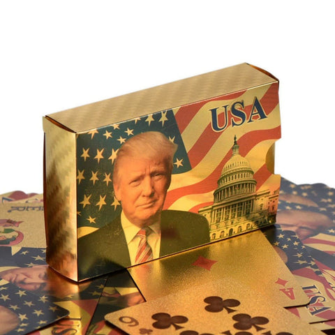 Image of Donald Trump Playing Cards Bundle - Gold AND Silver 2 Pack - Commemorative Collectors Edition - Games and Gifts