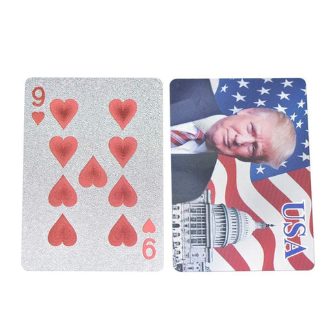 Image of Donald Trump Playing Cards - SILVER-Plated Commemorative Collectors Edition - Games and Gifts