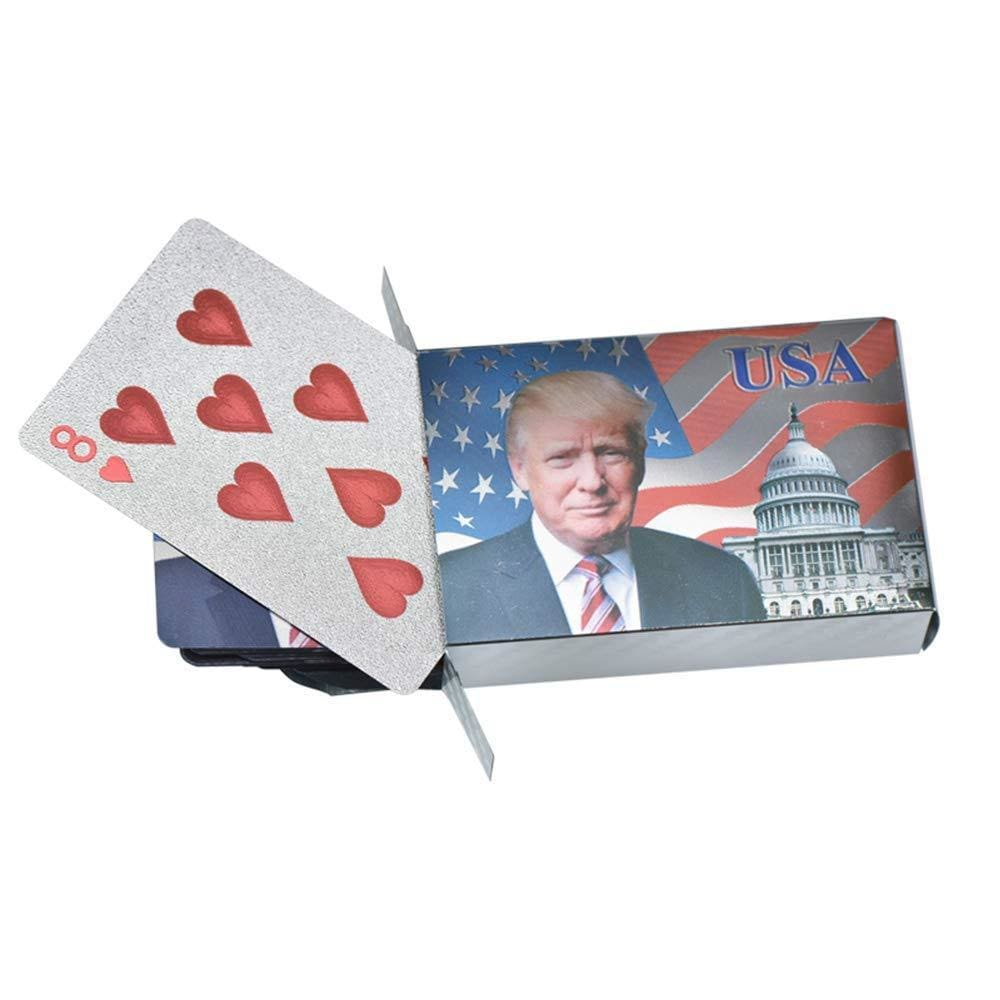 Donald Trump Playing Cards - SILVER-Plated Commemorative Collectors Edition - Games and Gifts