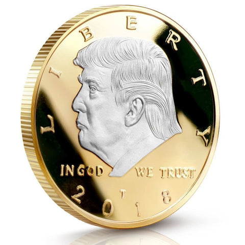 Image of Donald Trump Two Tone Silver On Gold Plated 2018 Commemorative Collectors Edition Coin