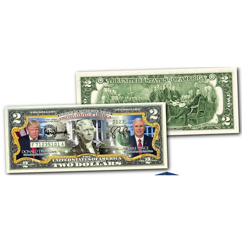 Image of Donald Trump & VP Mike Pence Genuine LEGAL TENDER US $2 Bill in 8x10 Collectors Display - Bill