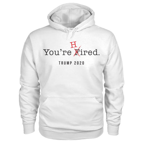 Image of Donald Trump Youre Hired - Dark Text - Hoodie - White / S / Gildan Hoodie