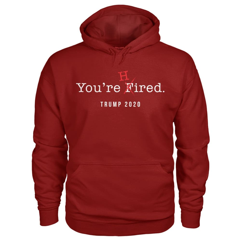 Donald Trump Youre Hired - White Text - Hoodie - Cardinal Red / S / Gildan Hoodie - Hoodies