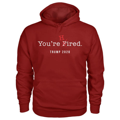 Image of Donald Trump Youre Hired - White Text - Hoodie - Cardinal Red / S / Gildan Hoodie - Hoodies