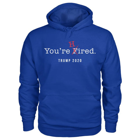 Image of Donald Trump Youre Hired - White Text - Hoodie - Royal / S / Gildan Hoodie - Hoodies