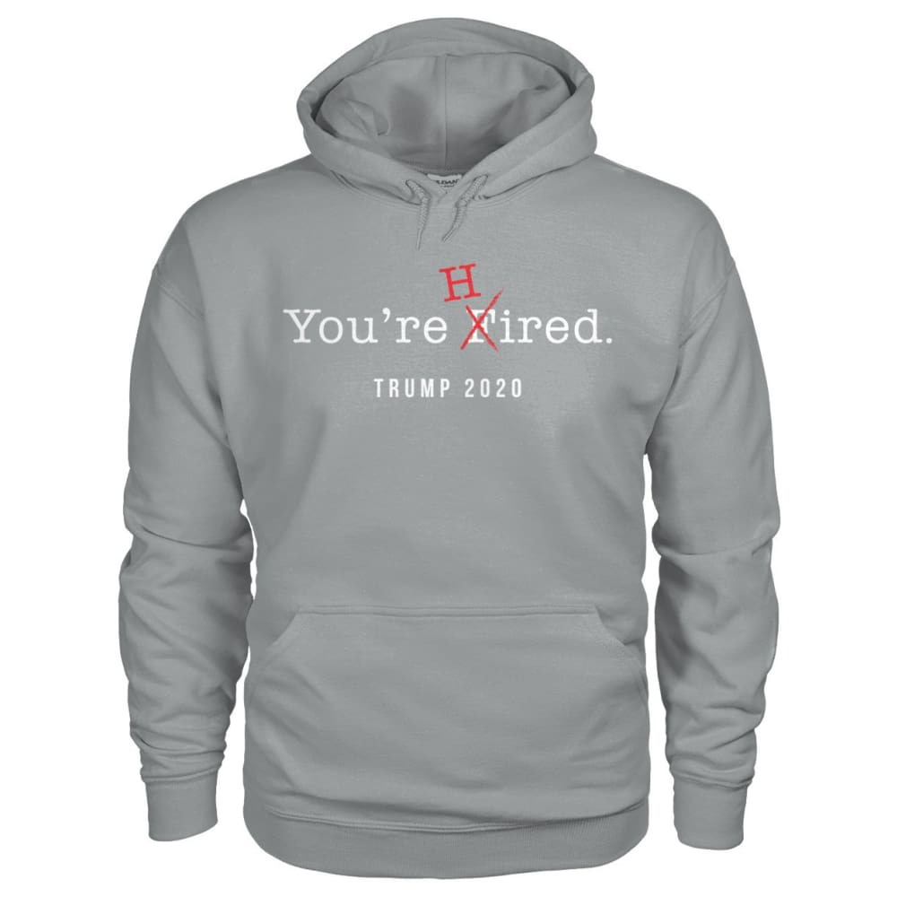 Donald Trump Youre Hired - White Text - Hoodie - Sport Grey / S / Gildan Hoodie - Hoodies