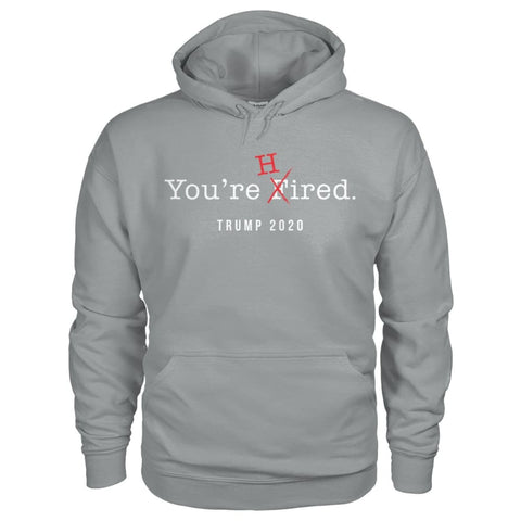 Image of Donald Trump Youre Hired - White Text - Hoodie - Sport Grey / S / Gildan Hoodie - Hoodies