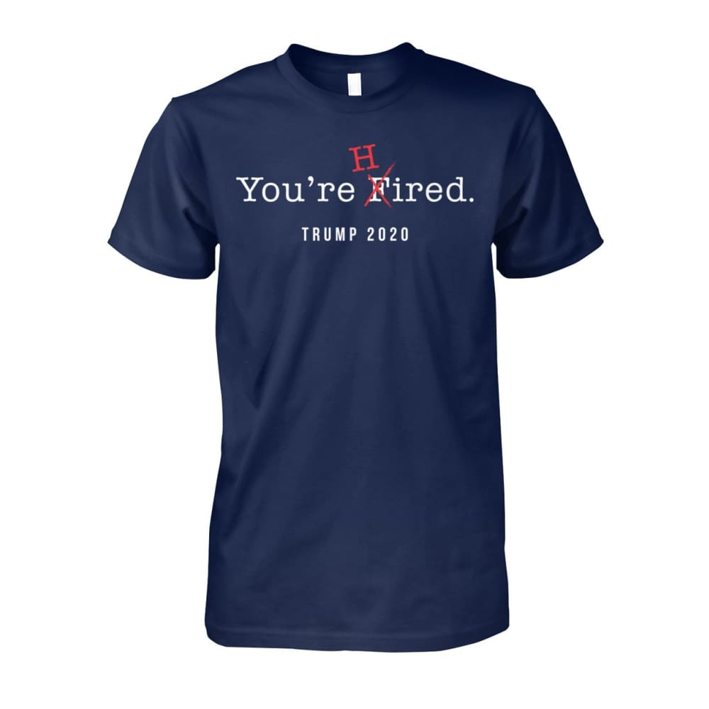 Donald Trump Youre Hired - White Text - Short Sleeve - Navy / S / Unisex Cotton Tee - Short Sleeves