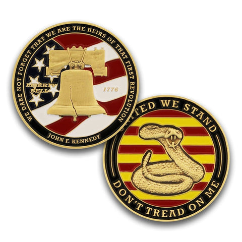 Image of Dont Tread on Me Coin - Colored Enamel