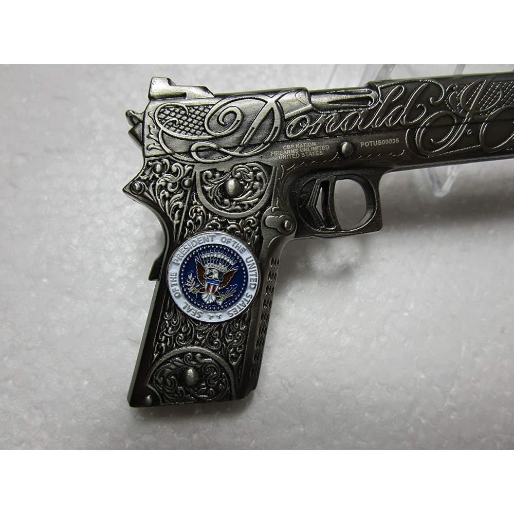 EXTREMELY RARE - President Trump POTUS West Coast Choppers Jesse James Custom 1911 .45 Challenge Coin