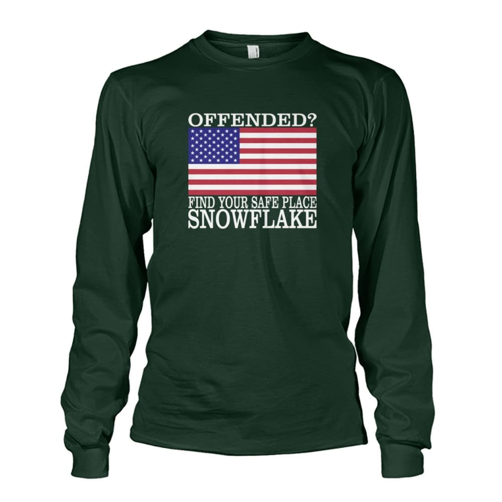 Find Your Safe Place Snowflake Long Sleeve - Forest Green / S - Long Sleeves