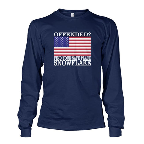 Image of Find Your Safe Place Snowflake Long Sleeve - Navy / S - Long Sleeves
