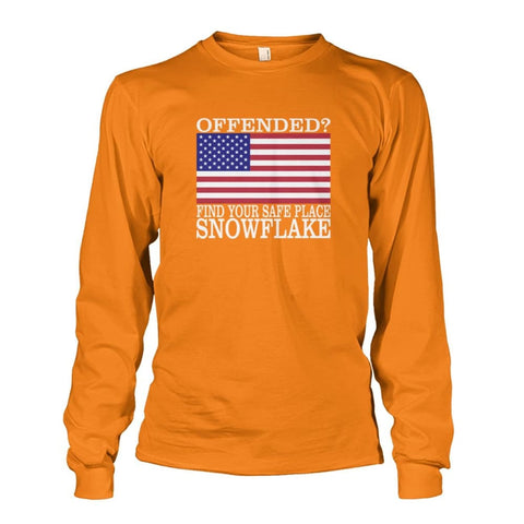 Image of Find Your Safe Place Snowflake Long Sleeve - Safety Orange / S - Long Sleeves