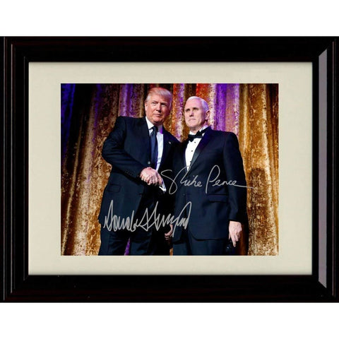 Framed Photo: Donald Trump and Mike Pence Autographs Replica Print