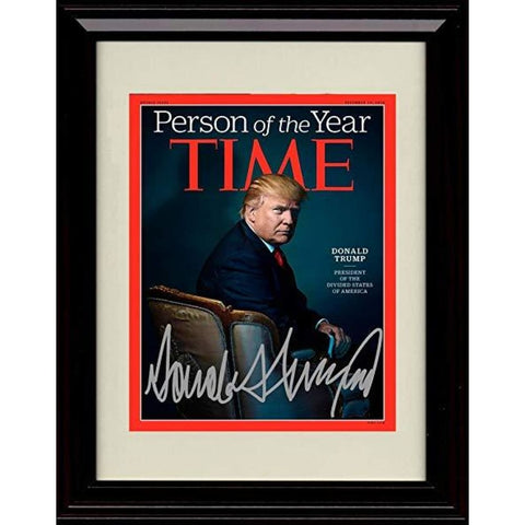 Framed Photo: Donald Trump Time Magazine Cover Autograph Replica Print